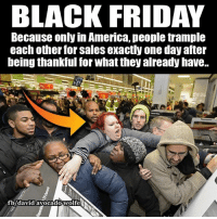 David Wolfe: BLACK FRIDAY  Because only in America, people trample  each other for sales exactly one day after  being thankful for what they already have. David Wolfe