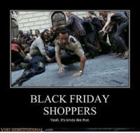 very demotivational: BLACK FRIDAY  SHOPPERS  Yeah, it's kinda like that.  VERY DEMOTIVATIONAL.com