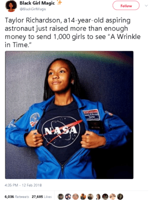 """Girls, Money, and Tumblr: Black Girl Magic  @BlackGirlMagix  Follow  Taylor Richardson, a14-year-old aspiring  astronaut just raised more than enough  money to send 1,000 girls to see """"A Wrinkle  in Time.""""  4:35 PM - 12 Feb 2018  6,036 Retweets 27,695 Likes gahdamnpunk:+ last year she raised $10,000 for girls to see Hidden figures!"""