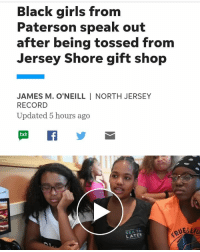 """Children, Facebook, and Friday: Black girls from  Paterson speak out  after being tossed from  Jersey Shore gift shop  JAMES M. O'NEILL I NORTH JERSEY  RECORD  Updated 5 hours ago  txt  SEA YA  LATER Four African-American girls from Paterson, ages 12 and 13, said Sunday that their much-anticipated, first-ever outing to the Jersey Shore ended on a bitter note Friday when they were told to leave a gift shop in Point Pleasant Beach by an employee who said, """"You're not welcome here."""" The girls, part of a larger group on a day trip with a Paterson-based summer youth camp, said that a gift shop worker at Jenkinson's Aquarium told them to leave because they didn't have a chaperone, even though, they said, white children in the store were also unattended. And when the girls went outside and returned with their chaperone, a 32-year-old counselor with the camp group, the employee still told them to leave, they said. Later, the director of the camp, Attiyya Barrett, 42, entered the shop to see what was wrong, and when she saw another employee taping the scene with a mobile phone, decided to take out her camera to film as well. The employee who had told the girls to leave then said, """"You guys love to get your phone out to record,"""" according to Barrett. Jenkinson's offers apologies On Sunday, the employee who kicked out the girls was suspended amid an internal investigation. In a statement, Jenkinson's Pavilion said discrimination of any kind was not tolerated by the company, which owns and operates private beaches, boardwalks, amusement games and the aquarium in Point Pleasant Beach. """"We strive to provide all of our customers with an enjoyable experience and we clearly missed the mark this time,"""" Jenkinson's marketing director Toby Wolf said in an email. """"We sincerely apologize to the girls from the camp group for the way they felt upon leaving. We have been in contact with the group leader and will continue to work with her to make amends."""" In a separate statement, Jenkinson's"""
