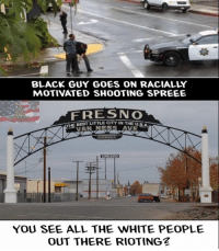 fresno: BLACK GUY GOES ON RACIALLY  MOTIVATED SHOOTING SPREEE  FRESNO  THE BEST LITTLE CITY IN THE USA  VAN ENTRANCE  CRESCO  YOU SEE ALL THE WHITE PEOPLE  OUT THERE RIOTINGZ