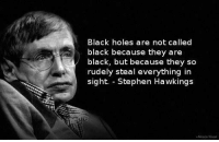 """Memes, Stephen, and Holes: Black holes are not called  black because they are  black, but because they so  rudely steal everything in  sight. - Stephen Hawkings  Alceza Yovari <p>He said it first via /r/memes <a href=""""http://ift.tt/2oaG95E"""">http://ift.tt/2oaG95E</a></p>"""