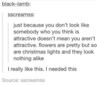Christmas Memes Tumblr: black-lamb:  SSCreamSS  just because you don't look like  somebody who you think is  attractive doesn't mean you aren't  attractive. flowers are pretty but so  are christmas lights and they look  nothing alike  I really like this. I needed this  Source: sscreamss