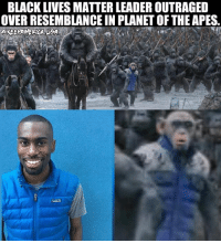 BLACK LIVES MATTER LEADER OUTRAGED  OVER RESEMBLANCE IN PLANET OF THE APES, Deray Mckessen, Black Lives Matter Leader, is Outraged over the War Of The Planet Of The Apes new Poster being one of the Apes resembles him. Wearing his Signature Blue Puffy Jacket. 😂 THIS IS GOLD!