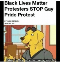 Anime, Black Lives Matter, and Lmao: Black Lives Matter  Protesters STOP Gay  Pride Protest  BY HANK BERRIEN  JUNE 11, 2017  What this a crossover episode? _ Follow ya boii's back up account |@pank_dussy_v.2| _ meme vaporwave relatable kek triggered mlg lmfao earrape pewdiepie immortalmemes papafranku wtf nicememe filthyfrank autism jetfuelcantmeltsteelbeams ayylmao jew dankmemes furry autistic leafy lol edgy anime lmao memes cringe eataburger notmyrodrick