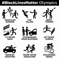 7/11, Drive By, and Memes:  #Black LivesMatter Olympics  COP  BRICK  TEAM FLAG  BURNING  TOSSING  KILLING  7-11 METER  6FT FENCE  SYCHRONIZED  DASH  HURDLE  ROAD BLOCKING  DRIVE-BY  TRUMP VOTER  STOLEN BIKE  SHOOTING  ASSAULTING  RIDING This one never gets old. Notice there's nothing on here that earns them a paycheck?   No wonder they aren't burning down the welfare office.  Cold Dead Hands