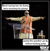 Memes, Swag, and Jumped: Black money kar do dump,  karo economy ko plump  pump the speaker up di,  mitron fucking jump This swag is out of the world 😂