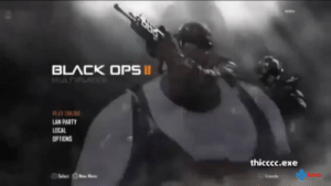 Party, School, and Black: BLACK OPS I  LTIL  LAN PARTY  LOCAL  OPTIONS  thicccc.exe  Set The year is 2012  you come home after a long day of school to play BO2  Then this banger comes on:  https://t.co/AlpFyklAOX