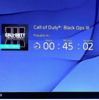 Funny, Hype, and Black: BLACK OPSII  PRE-ORDER  Call of Duty Black Ops Ill  Playable in  Hours  Minutes  Seconds  00 45 02 NoSleepTonight Gonna put the noobs back in their Graves 🔫 Ladies enjoy the last few mins with your Boyfriends 🙏 blackops3 Callofduty GoodbyeSocialLife Hype