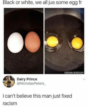 Dank, Food, and Prince: Black or white, we all jus some egg fr  FB@DANK MEMEOLOGY  Dairy Prince  @NicholasPeters  I can't believe this man just fixed  racism End racism with food
