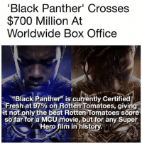 "Blackhistory, Fresh, and Memes: Black Panther' Crosses  $700 Million At  Worldwide Box Office  ""Black Panther"" is currently Certified  Fresh at 97% on Rotten Tomatoes, givin  it not only the best Rotten Tomatoes score  sofar tor a McU movie, but for any Super  . :  Hero film in history wakandaforever blackhistory ✊🏽🙅🏽‍♂️"