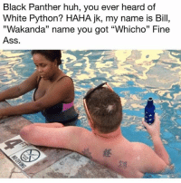 """Ass, Huh, and Memes: Black Panther huh, you ever heard of  White Python? HAHA jk, my name is Bill,  """"Wakanda"""" name you got """"Whicho"""" Fine  Ass. Ayyyyye!! Bill with that slick talk! 🔥🔥😂"""