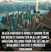 Memes, Black, and Black Panther: BLACK PANTHERIS WIDELY SHOWN TO BE  THE RICHEST CHARACTER IN ALL OF COMICS  AMASSING BILLIONS FROM THE SELLINGOF  WAKANDA'S NATIVELÝ PRODUCED  A NAVIBRANIUMR  ERED DISCLAIMER* This is not much a fact but more my own speculation, I really thought it was interesting so I hope you guys do as well! Comment below if you guys agree! -- What are you guys more hyped for, Black Panther or Thor Ragnarok?!