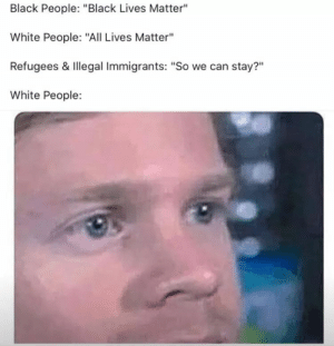 "All Lives Matter, Black Lives Matter, and White People: Black People: ""Black Lives Matter""  White People: ""All Lives Matter""  Refugees & Illegal Immigrants: ""So we can stay?""  White People:  ?11"