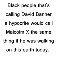 Hypocritic: Black people that's  calling David Banner  a hypocrite would call  Malcolm X the same  thing if he was walking  on this earth today