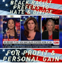 Memes, Work, and Beach: BLACK RACIST  PREFERS TO  HATE & DIVIDE  West Palm Beach, Florida  7:33 PM ET  NEW TONIGHT  LIVE  WH REFUSES TO SAY HOW MANY BLACK STAFFERS WORK AT WH NN  Angela Rye Former Executive Director, Congressional Black Caucus F PMET  GANI  TH OF KABUL, WHERE THE TALIBAN LAUNCHED ITS MOST SERIOUS CHALLE  OUTFRONT  FOR PROFIT &  PERSONAL GATN But, but , but .. I only thought white folks are racist