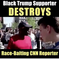 America, cnn.com, and Memes: Black Trump Supporter  DESTROYS  Race-Baiting CNN Reporter merica america usa trump destroyed