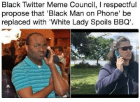 Black Twitter: Black Twitter Meme Council, I respectful  propose that 'Black Man on Phone' be  replaced with 'White Lady Spoils BBQ