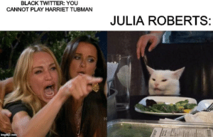 julia roberts: BLACK TWITTER: YOU  CANNOT PLAY HARRIET TUBMAN  JULIA ROBERTS:  imgflip.com julia roberts