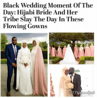 """Despite what """"traditional"""" wedding images will show you, a bride gets to slay her wedding day no matter her religion. Our latest Black wedding moment of the day proves this beautifully. Dressed in a caped gown, the bride and her 11 bridesmaids all rocked their hijabs like the queens they are. The bride celebrated the happiest day of her life and looked absolutely radiant while doing it!Congratulations to the bride, her tribe and her lucky groom! 17thsoulja BlackIG17th muslim hijabi @fourcornersinteriors: Black Wedding Moment Of The  Day: Hijabi Bride And Her  Tribe Slay The Day In These  Flowing Gowns Despite what """"traditional"""" wedding images will show you, a bride gets to slay her wedding day no matter her religion. Our latest Black wedding moment of the day proves this beautifully. Dressed in a caped gown, the bride and her 11 bridesmaids all rocked their hijabs like the queens they are. The bride celebrated the happiest day of her life and looked absolutely radiant while doing it!Congratulations to the bride, her tribe and her lucky groom! 17thsoulja BlackIG17th muslim hijabi @fourcornersinteriors"""