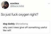 Bruh, Lit, and Lol: @BlacknMild  So just fuck oxygen right?  dog daddy @broebong  why cant trees give off something useful  like wifi Go follow out team page @teamnoharmdone_ @teamnoharmdone_ @teamnoharmdone_ @teamnoharmdone_ savagememes savage lit wifi freewifi dead oxygen lol bruh 😂😂🙌🏻😩