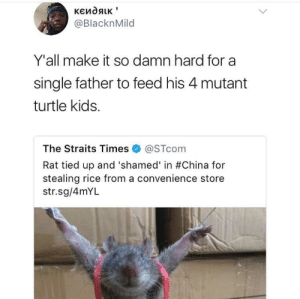 China, Free, and Kids: @BlacknMild  Y'all make it so damn hard for a  single father to feed his 4 mutant  turtle kids.  The Straits Times@STcom  Rat tied up and 'shamed' in #China for  stealing rice from a convenience store  str.sg/4mYL Free my mans Master Splinter