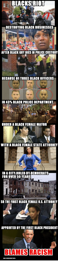 Obama, Police, and Racism: BLACKS RIOT  DESTROYING BLACK BUSINESSES  AFTER BLACK GUY DIES IN POLICE CUSTODY  BECAUSE OF THREE BLACK OFFICERS  IN 43% BLACK POLICE DEPARTMENT  UNDER A BLACK FEMALE MAYOR  WITH A BLACK FEMALE STATE ATTORNEY  IN A CITY RULED BY DEMOCRATS  FORLOVER 50 YEARS  SO THE FIRST BLACK FEMALE U.S.ATTORNEY  APPOINTED BY THE FIRSTBLACK PRESIDENT  BLAMES RACISM  AND CONSERVATIVES. FWD: Obama caused all of this! Can we go back to the peaceful, amicable Jim Crow days? Please.