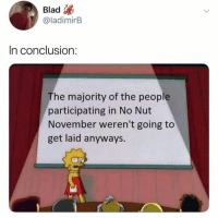 Funny, Conclusion, and Shots Fired: Blad  @ladimirB  In conclusion:  The majority of the people  participating in No Nut  November weren't going to  get laid anyways. SHOTS FIRED! https://t.co/PBL40jHaW8