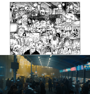 Blade Runner 2049 (2017) - This city / crowded street level scene looks pretty much the same as this crowded city scene panel from the original Ghost in the Shell comic by Masamune Shirow. (explanation in comments): Blade Runner 2049 (2017) - This city / crowded street level scene looks pretty much the same as this crowded city scene panel from the original Ghost in the Shell comic by Masamune Shirow. (explanation in comments)