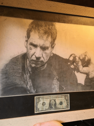 Blade Runner - Drawn by my brother in law a few years back. The dollar is signed by Harrison Ford: Blade Runner - Drawn by my brother in law a few years back. The dollar is signed by Harrison Ford