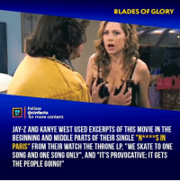 "Cute, Facts, and Jay: BLADES OF GLORY  NEA  ACTS  Follow  @cinfacts  for more content  JAY-Z AND KANYE WEST USED EXCERPTS OF THIS MOVIE IN THE  BEGINNING AND MIDDLE PARTS OF THEIR SINGLE""NS IN  PARIS"" FROM THEIR WATCH THE THRONE LP, ""WE SKATE TO ONE  SONG AND ONE SONG ONLY"", AND ""IT'S PROVOCATIVE; IT GETS  THE PEOPLE GOING!""  ""Nkxkx Ummm now I know why Michael Scott said, if you think she's cute now, you should have seen her a few years ago lol⠀ -⠀⠀ Follow @cinfacts for more facts"