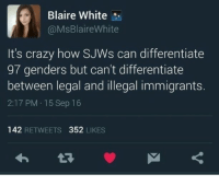 Crazy, Funny, and Memes: Blaire White  @MsBlaireWhite  It's crazy how SJWs can differentiate  97 genders but can't differentiate  between legal and illegal immigrants.  2:17 PM 15 Sep 16  142 RETWEETS 352 LIKES Oh yes it is! liberal Trump MAGA PresidentTrump NotMyPresident USA theredpill nothingleft conservative republican libtard regressiveleft makeamericagreatagain DonaldTrump mypresident buildthewall memes funny politics rightwing blm snowflakes