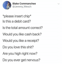 Love, Shit, and Receipt: Blake Commanchee  @Jeremy_Wesch  please insert chip*  Is this a debit card?  Is the total amount correct?  Would you like cash back?  Would you like a receipt?  Do you love this shit?  Are you high right now?  Do you ever get nervous? It be too many questions 😩💯 https://t.co/pkw0cqo2V4