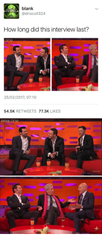 Tumblr, Wolverine, and Blog: blank  AG  HYDRA  @driscol1324  How long did this interview last?  25/02/2017, 07:10  54.5K RETWEETS 77.3K LIKES   SUBSCRIBE meemalee:Wolverine is ageless.