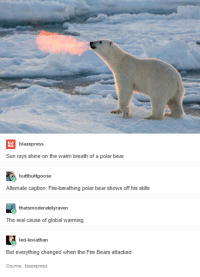Fire, Global Warming, and Bear: blazepress  Sun rays shine on the warm breath of a polar bear  buttbuttgoose  Altemate caption: Fire-breathing polar bear shows off his skills  caption: Fire-breathing polar bear  thatsmoderatelyraven  The real cause of global warming  led-leviathan  But everything changed when the Fire Bears attacked  Source: blazepress