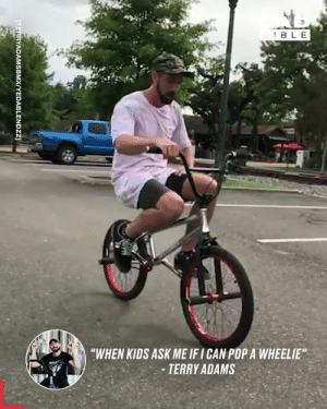 """Yeah this is pretty impressive, I can only just ride the thing 🚴♂️🔥: BLE  """"WHEN KIDS ASK ME IFI CAN POP A WHEELIE""""  -TERRY ADAMS  [TERRYADAMSBMX/YEDABLENDZZ Yeah this is pretty impressive, I can only just ride the thing 🚴♂️🔥"""