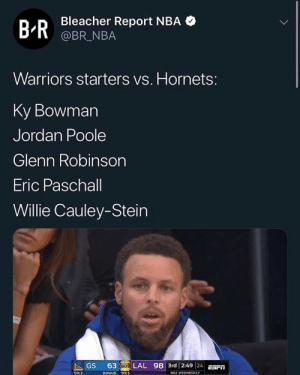 These guys are making $7 million combined 😂 https://t.co/3wp87e5uqq: Bleacher Report NBA  @BR_NBA  B-R  Warriors starters vs. Hornets:  Ky Bowman  Jordan Poole  Glenn Robinson  Eric Paschall  Willie Cauley-Stein  63 IKER LAL 98 3rd 2:49 24E  GS  BONUS TO:5  TO: 2  NBA WEDNESDAY These guys are making $7 million combined 😂 https://t.co/3wp87e5uqq