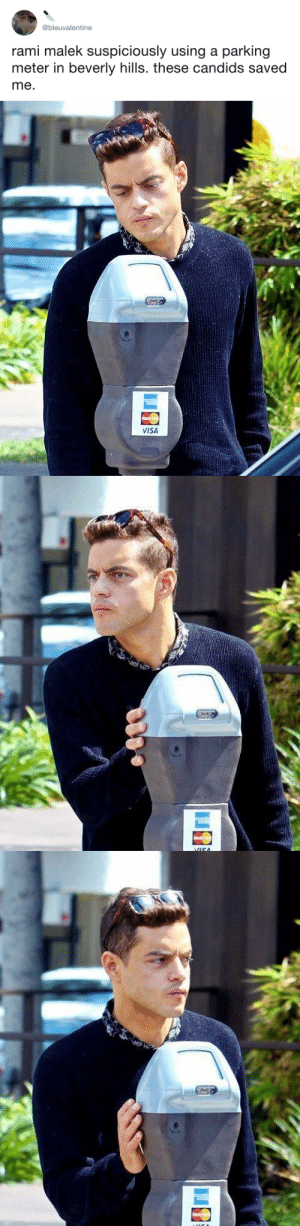 tastefullyoffensive: He's going to hack it. (via bleuvaIentine): @bleuvalentine  rami malek suspiciously using a parking  meter in beverly hills. these candids saved  me   VISA tastefullyoffensive: He's going to hack it. (via bleuvaIentine)