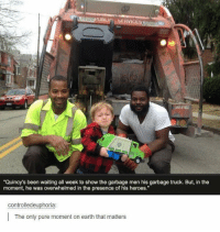 """Memes, 🤖, and Garbage: BLIn SERVIC  """"Quincy's been waiting all week to show the garbage men his garbage truck. But, in the  moment, he was overwhelmed in the presence of his heroes.""""  controlledeuphoria:  The only pure moment on earth that matters Very cool😀👍🏼👏🏽"""