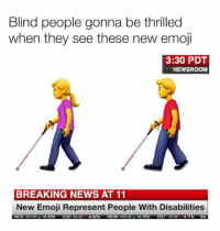 Dank, Emoji, and News: Blind people gonna be thrilled  when they see these new emoji  3:30 PDT  NEWSROOM  BREAKING NEWS AT 11  New Emoji Represent People With Disabilities  wCG 32063A+432%  CGC 49424.92%  REGN 40600A  +3.70%  ESLT 126 854.17%  SO
