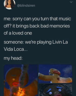 Bad, Funny, and Head: @blindsiren  me: sorry can you turn that music  off? it brings back bad memories  of a loved one  someone: we're playing Livin La  Vida Loca..  my head