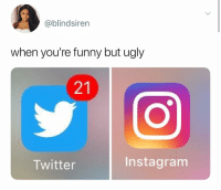 Funny, Instagram, and Twitter: @blindsiren  when you're funny but ugly  21  Twitter  Instagram well it's a good thing I'm both