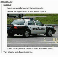 clean cleanfunny cleanhilarious cleanposts cleanpictures cleanaccount funny funnyaccount funnypictures funnyposts funnyclean funnyhilarious: blissfullybizzare:  timoodles:  there is a town called sandwich in massachusetts  there are literally police cars labelled sandwich police  5ANDWEH POLICE  SORRY MATAM, YOU REUNDERARREST. TOO MUCH MAYO.  They relish the idea of punishing crime. clean cleanfunny cleanhilarious cleanposts cleanpictures cleanaccount funny funnyaccount funnypictures funnyposts funnyclean funnyhilarious