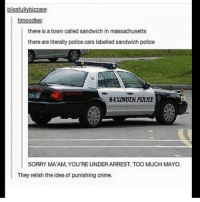 ( ͡° ͜ʖ ͡°) (Credit tagged) clean meme cleanmeme cleanmemes lol laughoutloud funny laughing laughinguntilicry laugh crying hilarious hahaha haha ha 😂 🤣 relatable wow omg used common stolen borrowed joking joker joke maymays maymay: blissfullybizzare:  timoodles:  there is a town called sandwich in massachusetts  there are literally police cars labelled sandwich police  GANDWICH POLICE  SORRY MA'AM, YOU'RE UNDER ARREST. TOO MUCH MAYO  They relish the idea of punishing crime. ( ͡° ͜ʖ ͡°) (Credit tagged) clean meme cleanmeme cleanmemes lol laughoutloud funny laughing laughinguntilicry laugh crying hilarious hahaha haha ha 😂 🤣 relatable wow omg used common stolen borrowed joking joker joke maymays maymay