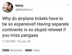 Airplane, Continents, and Why: blizzy  @BlairAlzuro  Why do airplane tickets have to  be so expensive!! Having separate  continents is so stupid retweet if  you miss pangaea  11:35 PM 13 Jun 18  200K Retweets 406K Likes