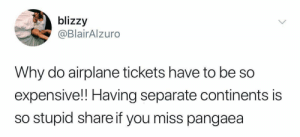 Bring back Pangaea: blizzy  @BlairAlzuro  Why do airplane tickets have to be so  expensive!! Having separate continents is  so stupid share if you miss pangaea Bring back Pangaea