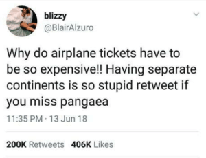 Airplane, Continents, and Why: blizzy  @BlairAlzuro  Why do airplane tickets have to  be so expensive!! Having separate  continents is so stupid retweet if  you miss pangaea  11:35 PM 13 Jun 18  200K Retweets  406K Likes *retweets*