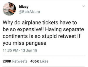 Reblog if you miss Pangaea: blizzy  @BlairAlzuro  Why do airplane tickets have to  be so expensive!! Having separate  continents is so stupid retweet if  you miss pangaea  11:35 PM 13 Jun 18  200K Retweets 406K Likes Reblog if you miss Pangaea
