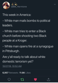 America, Blackpeopletwitter, and Church: @Blk Hermione  This week in America  White man mails bombs to political  leaders  White man tries to enter a Black  church before shooting two Black  people at a Kroger  White man opens fire at a synagogue  in Pittsburgh  Are y'all ready to talk about white  domestic terrorism yet?  10/27/18, 10:52 AM  6,957 Retweets 11.6K Likes
