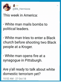 America, Church, and Fire: @Blk_Hermione  This week in America:  White man mails bombs to  political leaders  - White man tries to enter a Black  church before shooting two Black  people at a Kroger.  White man opens fire at a  synagogue in Pittsburgh.  Are y'all ready to talk about white  domestic terrorism yet?  10:52 AM 27 Oct 18 Hmmmm